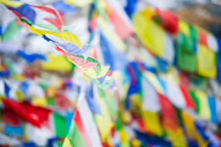 color prayer flags on top of Annapurna base camp , Nepal Stock Photo