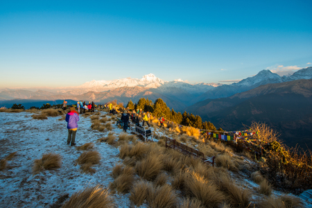hill range: Nepal - 26 December 2016 :: Poon Hill view point for see snow mountain in Nepal , Annapurna range
