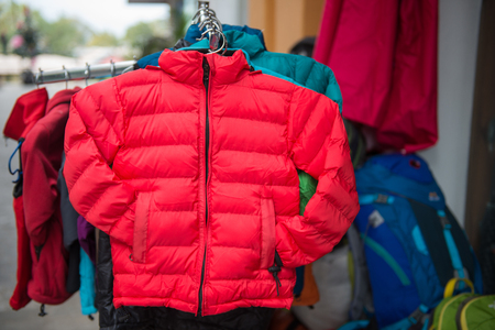 down jacket for sell in clothing shop , waer Stock Photo