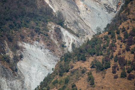 landslide: landslide on the mountain in Nepal , nature Stock Photo