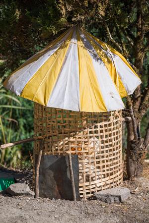 umbrella on henhouse sunproof simple style , chicken