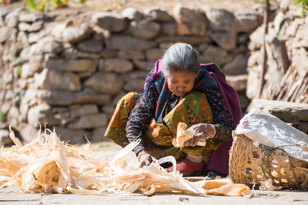 Nepal - 27 December 2016 ::Nepalese woman is working at home , mountain Editorial