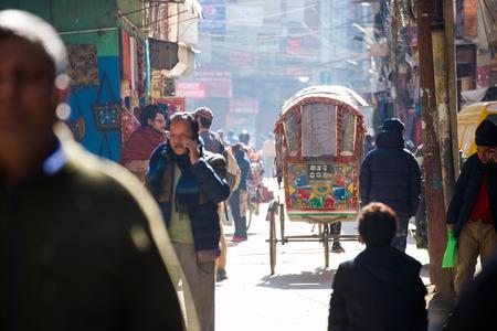 rikscha: Nepal - 3 January 2017 :: rickshaw service for citytour at Kathmandu , Nepal