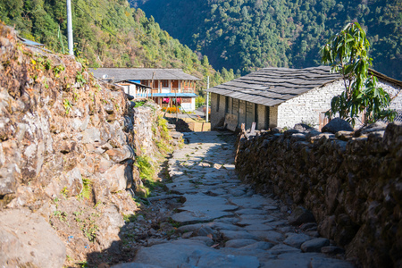 small home on the way to Annapurna base camp, Nepal Stock Photo