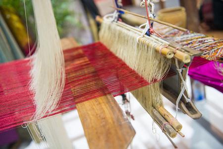 beautiful thai silk made from loom, cloth Stock Photo
