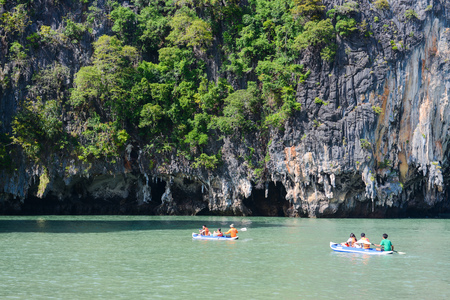 phangnga: Thailand -15 january 2017 :: traveller are kayaking to see sighting in Phang-nga , Thailand Editorial