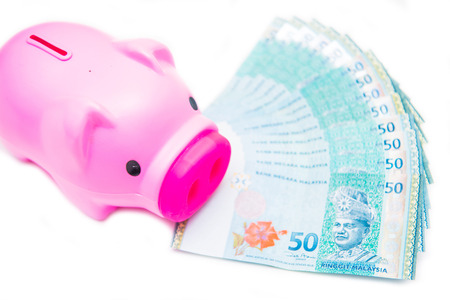 bank note of Ringgit Malaysia and piggy bank , money