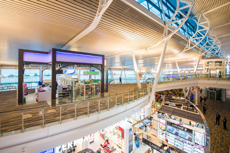 Phuket - 10 febuary 2017 :: duty free shop inside Phuket international airport , airport Editorial