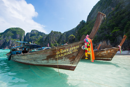 Thailand - 31 April 2017 ::Longtail boat Maya Bay - Famous beach in Krabi , Thailand