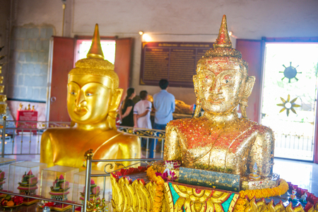 Phuket, Thailand - March 23, 2017: Golden Buddha statue at Pratong temple or Phra-phud temple in Phuket, Thailand