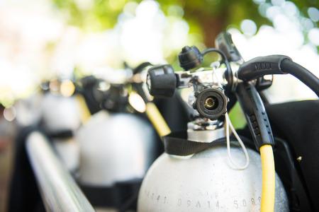 diving regulator on diving cylinder tank, scuba