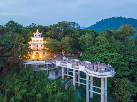 PHUKET, THAILAND - JULY 20, 2017 :Aerial view of beautiful landscape of Khao Rang viewpoint, Phuket, Thailand
