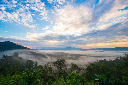 Landscape of misty mountain forest covered hills at khao khai nui, Phang-nga Stock Photo