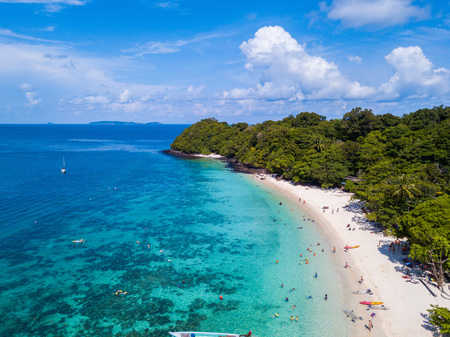 Aerial view or top view of tropical island beach with clear water at Banana beach, Coral Island, Koh Hey, Phuket, Thailand