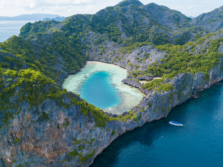 コック櫛島、ミャンマーの航空写真 写真素材