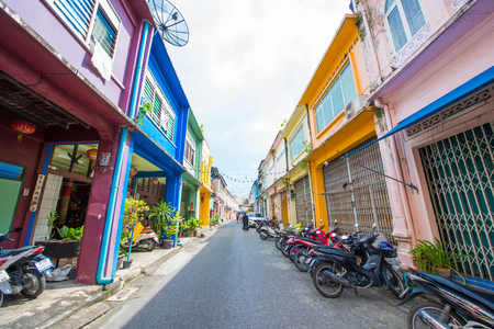 Phuket, Thailand - October 12, 2017: Beautiful colorful old building Sino Portuguese style in Phuket town, Thailand