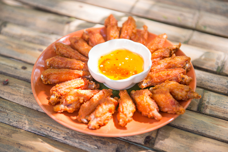 Fried chicken wings with sauce, food  Stockfoto
