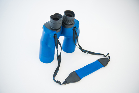 Blue binoculars is accessory for travel, optical instrument