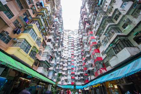 Hong Kong - January 12, 2018 :Old apartment in Hong Kong is a place that part of Tranformer scene 報道画像