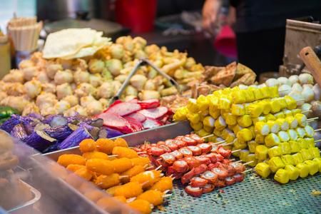 Hong Kong street food at food stall in town, Hong kong, cuisine