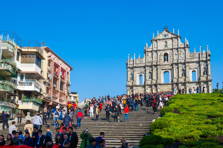 Macau - January 15, 2018 :Ruins facade of St.Paul's Cathedral in Macau, historic architecture as landmark of Macau Editorial