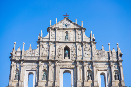 Ruins facade of St.Pauls Cathedral in Macau, historic architecture as landmark of Macau Stock Photo