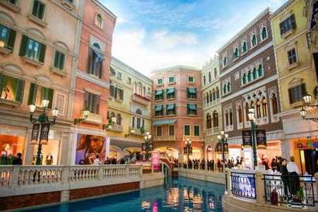 Macau - January 16, 2018 :Interior view of the Venetian Hotel, Venetian Hotel is luxury hotel and the largest casino in the world Redactioneel