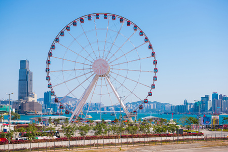 Central, Hong Kong - January 10, 2018 :The Hong Kong Observation Wheel at Central Harbourfront, Central District, Hong Kong