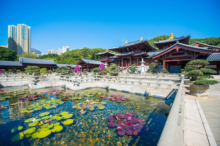 Chi Lin Nunnery Temple is famous and beautiful place in Kowloon, Hong Kong, landmark