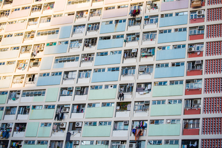 Hong Kong - January 12, 2018 :The colorful Choi hung estate, It is located in Wong Tai Sin district, Hong Kong, landmark