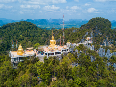 Aerial view of Tiger Cave Temple or Wat Thum Sua at Krabi province, Thailand, landscape Imagens - 101194863