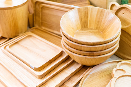 Various of wooden utensils for sale in store, kitchenware Stockfoto