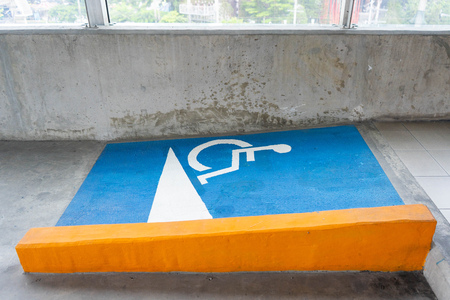 Slope path way for wheelchairs, symbol