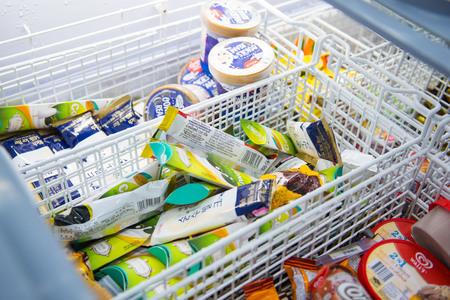 [5 january 2018 Thailand] Phuket::many brands of ice cream in freezer , dessert