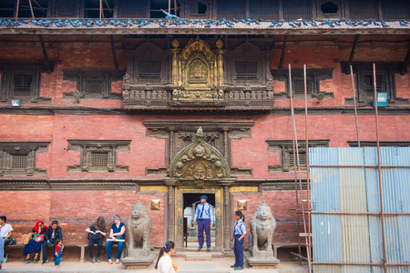 Kathmandu, Nepal - April 20, 2018 :The building of Patan Dubar square is during reconstruction after earthquake April 2015, landmark Editorial