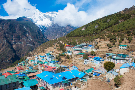 Namche Bazaar beautiful village on the mountain in Nepal , everest