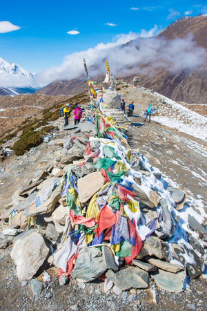 12 April 2018 - Nepal ::prayer flag and stupa on the mountain, Everest base camp