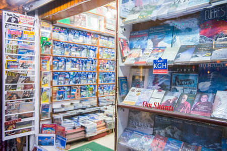 15 April 2018 - Nepal, book store in thamel street, Kathmandu