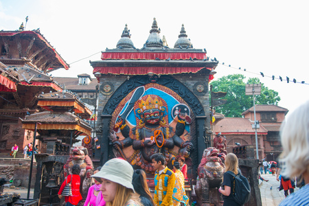 18 April 2018 - Nepal ::The imagery of Kala Bhairav at Hanuman Dhika Durbar square, Kathmandu Editorial