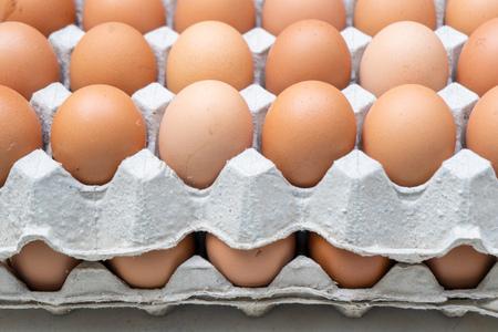 Uova di gallina in scatola di cartone, uova crude fresche Archivio Fotografico