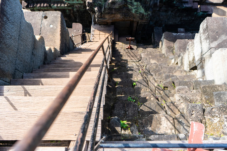steep staircase of Baphuon temple, Angkor Thom