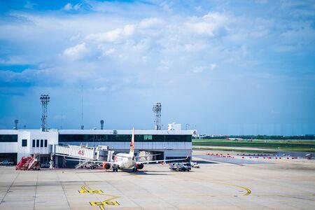 Bangkok - 28 July 2019 : parking lot for airplane at airport