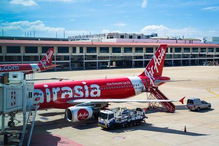 Bangkok - 28 July 2019 : Airasia airplane parking at airport