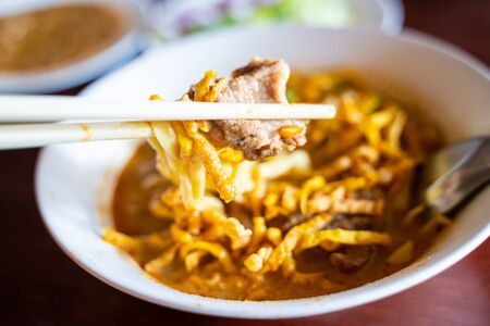 Khao Soi - thai curry noodles with pork,Thai food