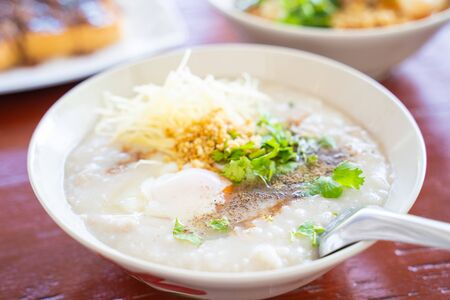 boiled rice with pork and egg,Thai mush