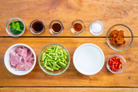 ingredient for cook stir fried pork with spicy curry,Thai food