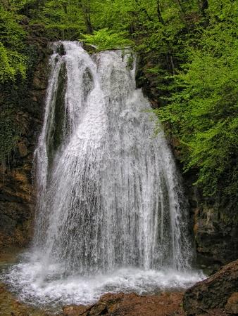 Summer. Crimea. Waterfall Dzhur-Dzhur in wood  Stock Photo