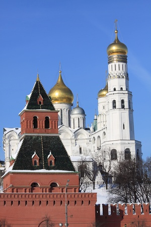 View at some of Moscow Kremlins cathedrals-Ivan the Great Bell Tower and Archangels Cathedral photo