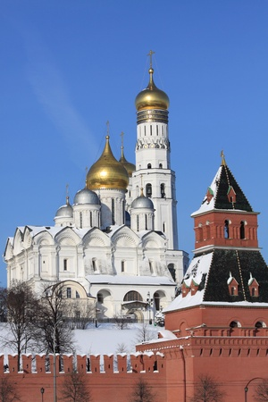 View at some of Moscow Kremlins cathedrals-Ivan the Great Bell Tower and Archangels Cathedral