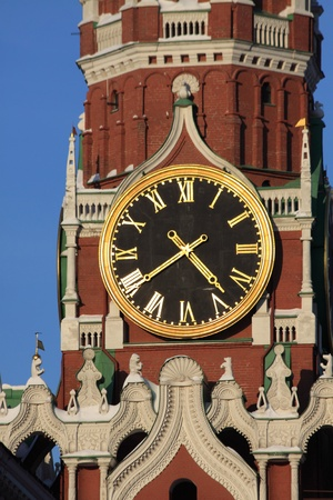 spasskaya: The Saviour (Spasskaya) Tower in Moscow Kremlin, Russia. Stock Photo